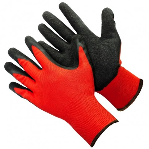 Перчатки (Red) нейлоновые с текстурированным вспененным латексом 13 класс